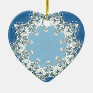 dainty Circular Shades Of Blue Ceramic Heart Decoration