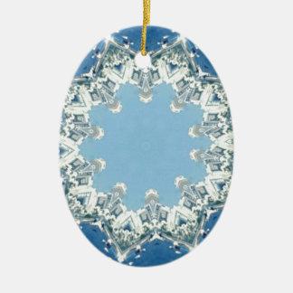 dainty Circular Shades Of Blue Ceramic Oval Decoration