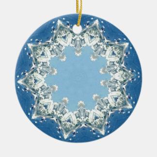 dainty Circular Shades Of Blue Round Ceramic Decoration