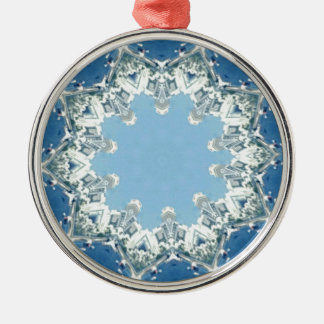 dainty Circular Shades Of Blue Silver-Colored Round Decoration