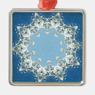 dainty Circular Shades Of Blue Silver-Colored Square Decoration