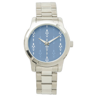 Dainty floral stripes in country blue and white watch