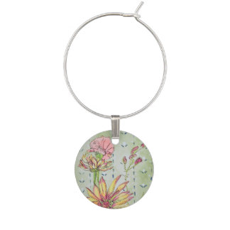 Dainty Floral Wine Charm Set