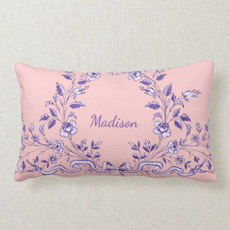 Dainty Floral Wreath with Name Lumbar Pillow