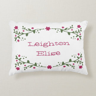 Dainty Florals Personalized Decorative Pillow