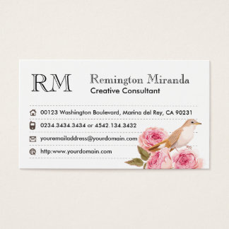 Dainty Pink Floral and Bird Feminine Chic Rose Business Card