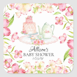 Dainty Pink Floral Baby Tea Party Envelope Seal