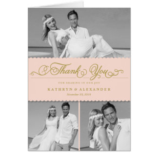 Dainty Scalloped Band Wedding Thank You Photo Card