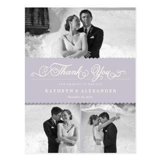 Dainty Scalloped Band Wedding Thank You Photo Postcard