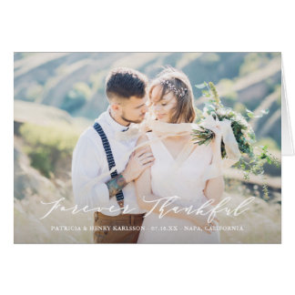 Dainty Script Forever Thankful Wedding Thank You Card
