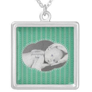 Dainty Stripes Photo Necklace - Mint