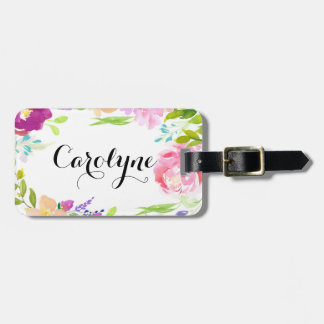 Dainty Watercolor Floral Frame Personalised Luggage Tag