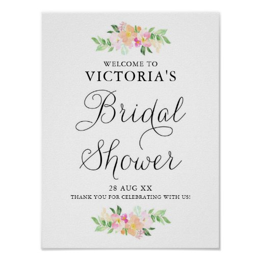 Dainty Watercolor Florals Bridal Shower Welcome Poster