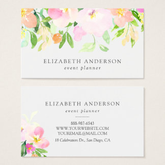 Dainty Watercolor Flowers | Pastel Floral Business Card