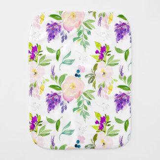 Dainty Watercolor Flowers   Peonies and Wisterias Burp Cloth