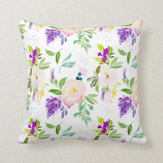 Dainty Watercolor Flowers | Peonies and Wisterias Cushion