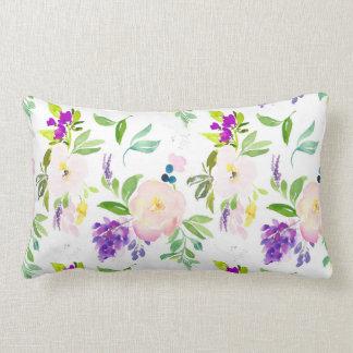 Dainty Watercolor Flowers | Peonies and Wisterias Lumbar Cushion