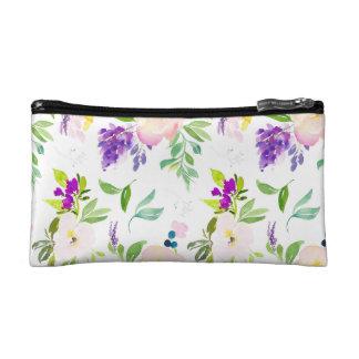 Dainty Watercolor Flowers | Peonies and Wisterias Makeup Bag