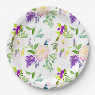Dainty Watercolor Flowers | Peonies and Wisterias Paper Plate
