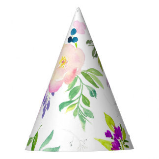 Dainty Watercolor Flowers | Peonies and Wisterias Party Hat
