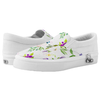 Dainty Watercolor Flowers   Peonies and Wisterias Slip-On Shoes