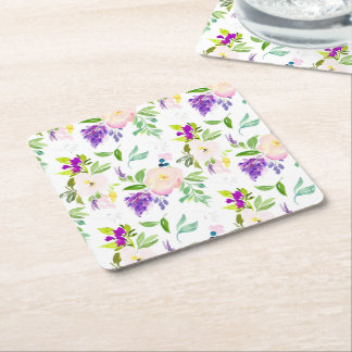 Dainty Watercolor Flowers | Peonies and Wisterias Square Paper Coaster