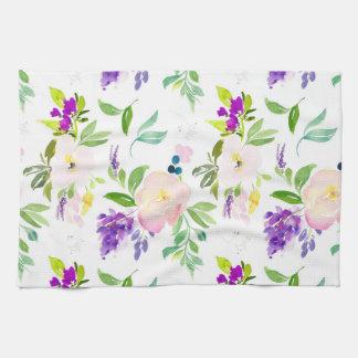 Dainty Watercolor Flowers | Peonies and Wisterias Tea Towel