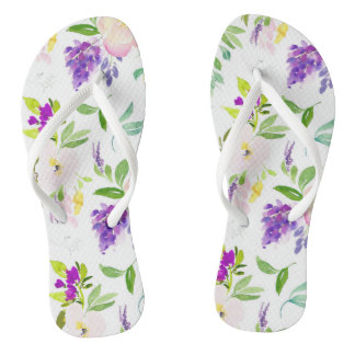 Dainty Watercolor Flowers   Peonies and Wisterias Thongs