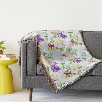 Dainty Watercolor Flowers | Peonies and Wisterias Throw Blanket