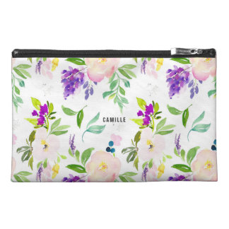 Dainty Watercolor Flowers | Peonies and Wisterias Travel Accessory Bag