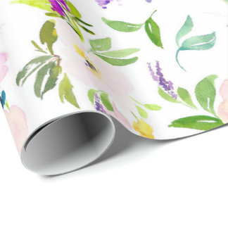 Dainty Watercolor Flowers | Peonies and Wisterias Wrapping Paper