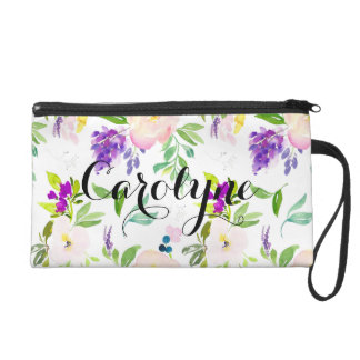 Dainty Watercolor Flowers | Peonies and Wisterias Wristlet