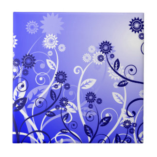 Dainty Wildflowers & Swirly Vines Purple Blue Ceramic Tile