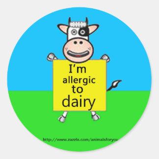 Dairy Allergy Alert Classic Round Sticker