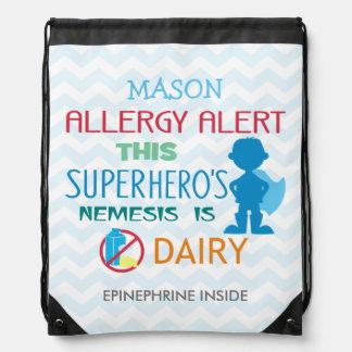 Dairy Allergy Alert Superhero Boy Blue Silhouette Drawstring Bag