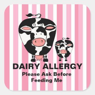 Dairy Allergy Farm Cow Personalized Label Square Sticker