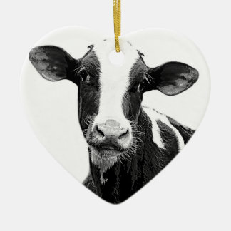 Dairy Cow - Black and White Dairy Calf Ceramic Heart Decoration