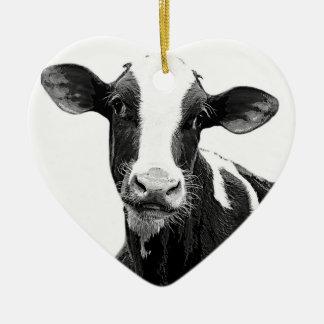 Dairy Cow - Black and White Dairy Calf Ceramic Ornament