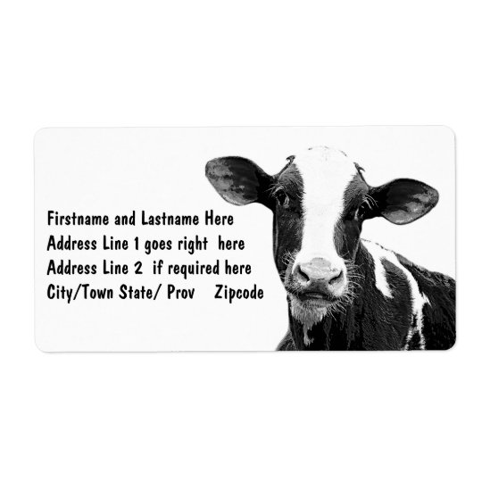 Dairy Cow - Black and White Dairy Calf Shipping Label