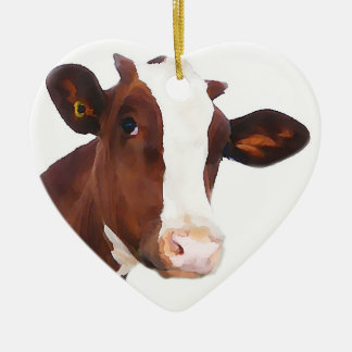 Dairy Cow -  Painted Brown & White Holstein Ceramic Ornament
