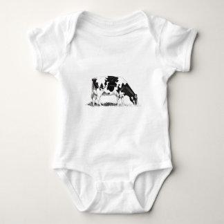 DAIRY COW, PENCIL ART BABY BODYSUIT