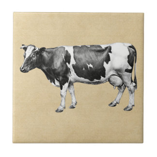 Dairy Cow Sepia Small Square Tile