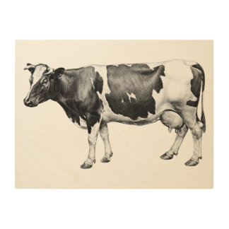 Dairy Cow Wood Print