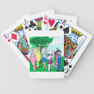 Dairy Cows Wearing Street Clothes Bicycle Playing Cards
