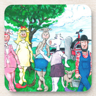 Dairy Cows Wearing Street Clothes Coaster