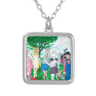Dairy Cows Wearing Street Clothes Silver Plated Necklace