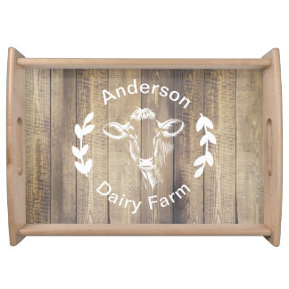 Dairy Farm Country Rustic Family Name Cow Serving Tray