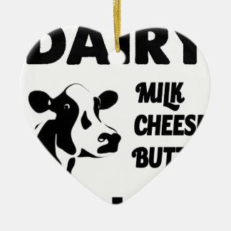 Dairy farm fresh, milk cheese butter ceramic heart decoration