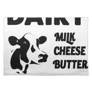 Dairy farm fresh, milk cheese butter placemat