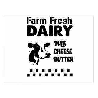 Dairy farm fresh, milk cheese butter postcard